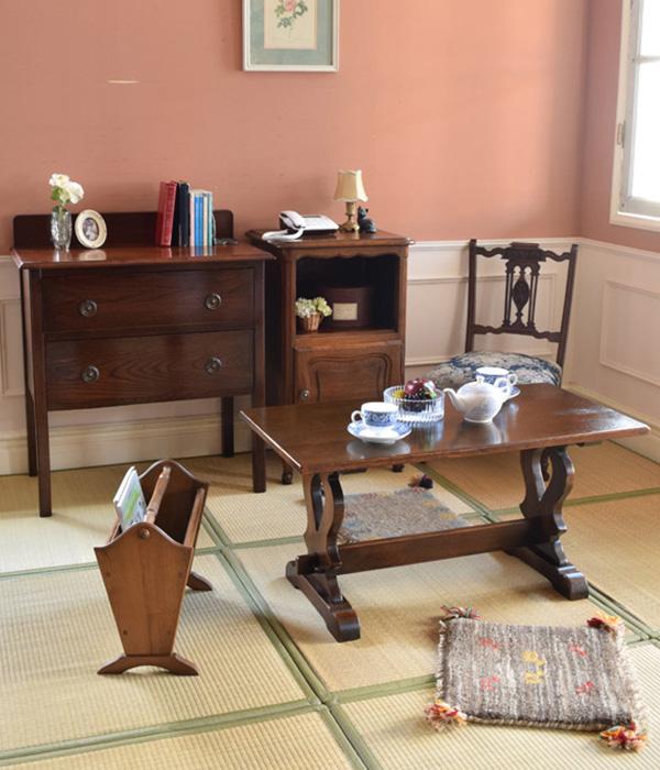 畳×英国フランスのアンティーク家具