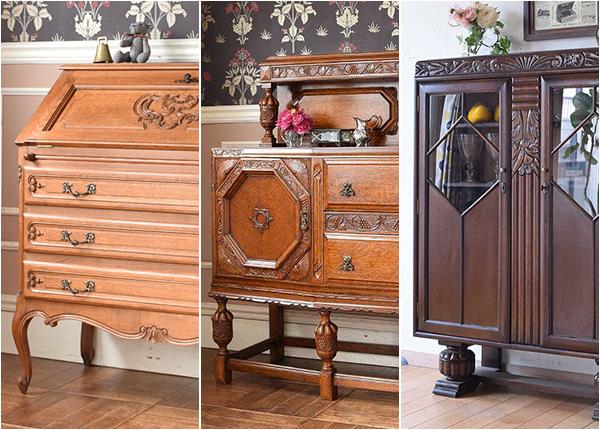 明るい色から濃いこげ茶色まであるオーク材の家具