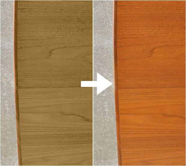 チーク材の経年変化(色の変化)