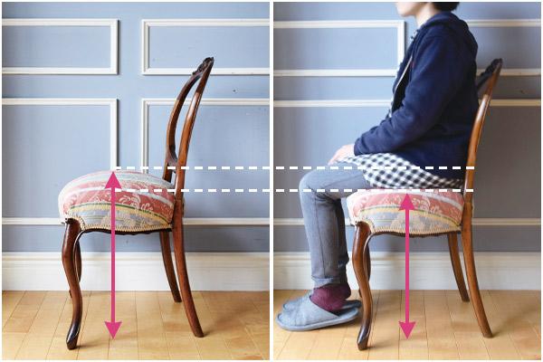 座ったときの沈み込みで高さが変わらる布座の椅子