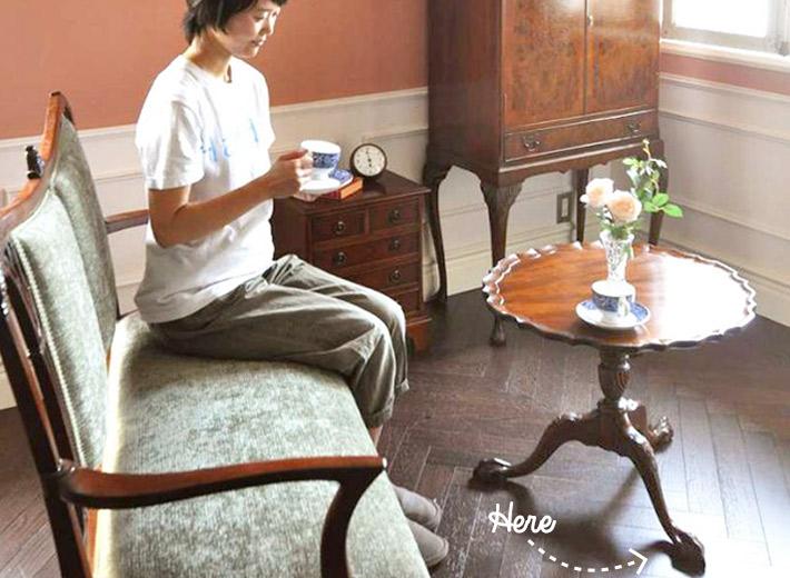 クロウ&ボールのサイドテーブルを使ったリビング