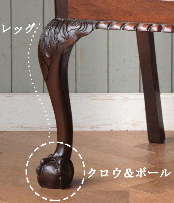 クロウ&ボールのデザインはカブリオールレッグの足元に