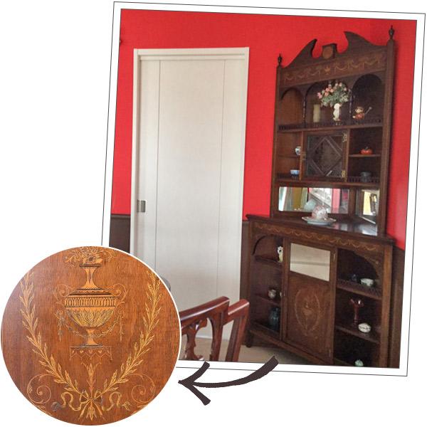 埼玉県にお住まいのKさまから届いた象嵌の家具の写真