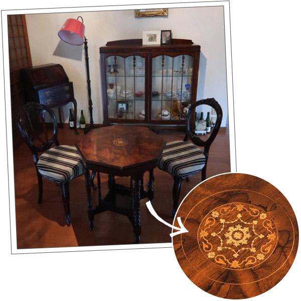 宮崎県にお住まいのHさまから届いた象嵌の家具の写真