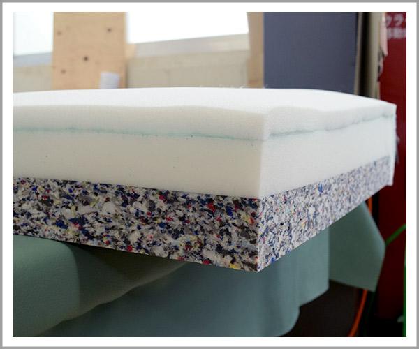 オリジナルソファの製造過程、41座クッションの中身は3層構造