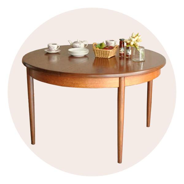 丸型天板の伸び縮みするテーブル