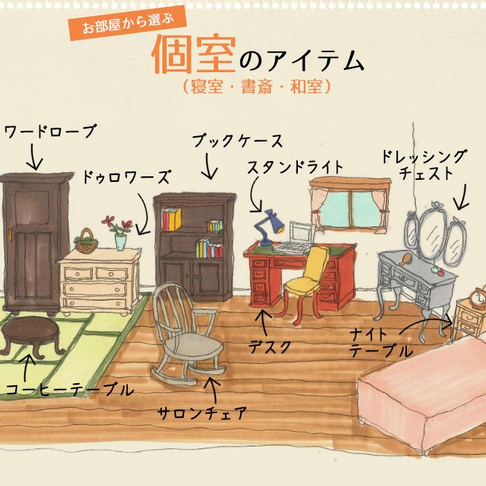 個室(寝室・書斎・和室)で使うアンティークから選ぶSP