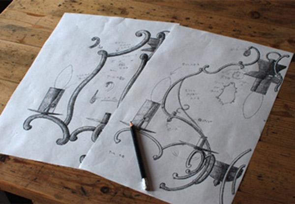 Handleアンティーク風オリジナルシャンデリアの図面