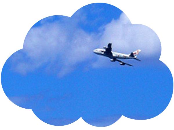 フランスから届くリネンの生地(飛行機)