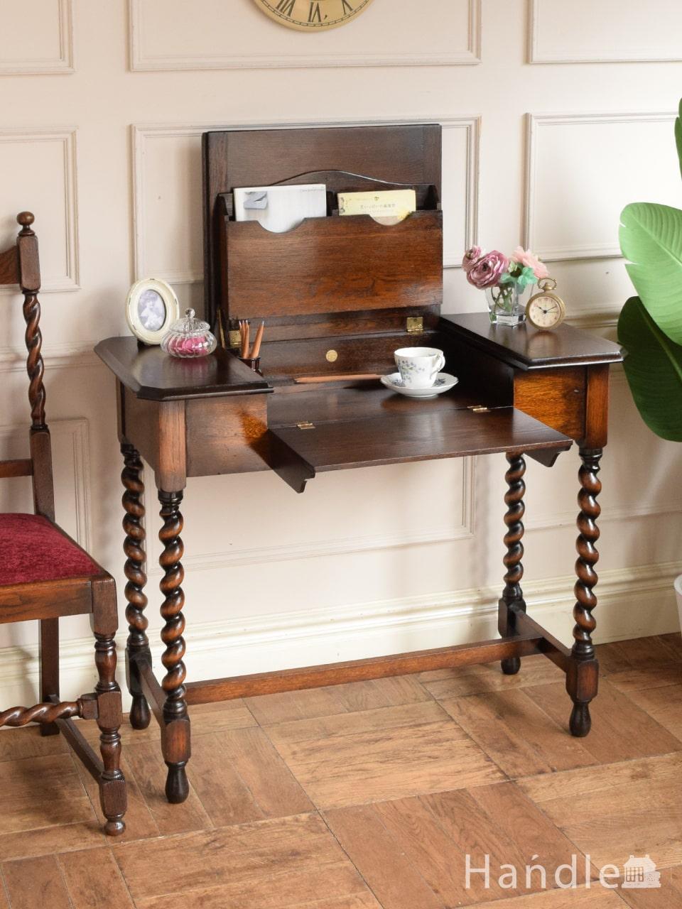 英国のアンティークデスク、めずらしいトランスフォーム型の書斎机