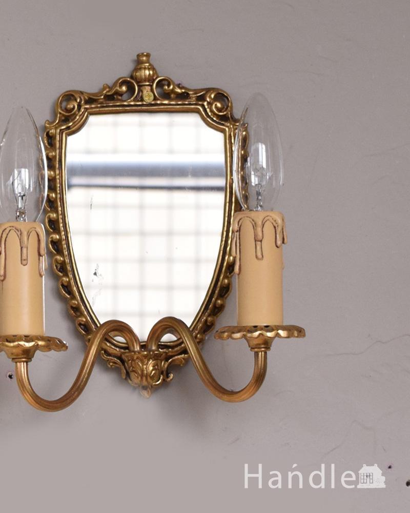 ミラー付きのフランス輸入の真鍮のウォールブラケット(2灯)(E17シャンデリア球付) (h-331-z)