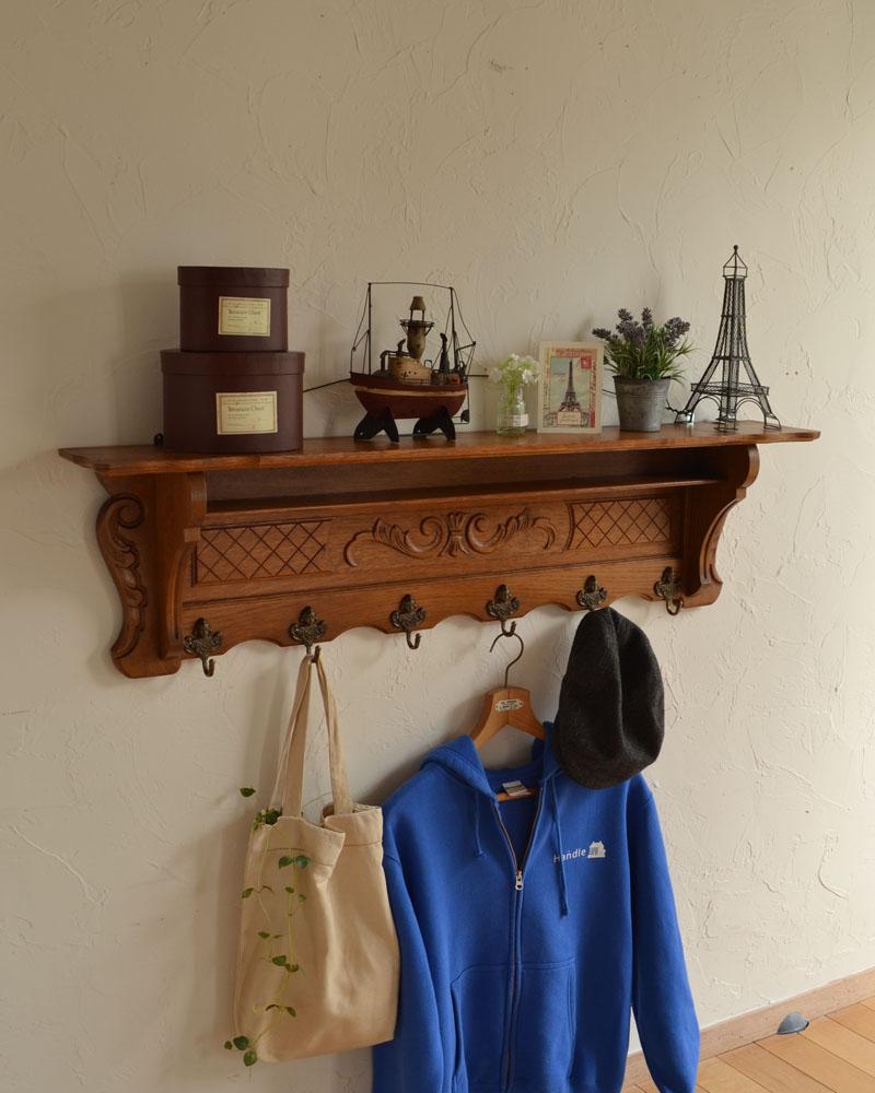 フランスアンティークの壁付け家具、エレガントなウォールハンガー(壁付けシェルフ)