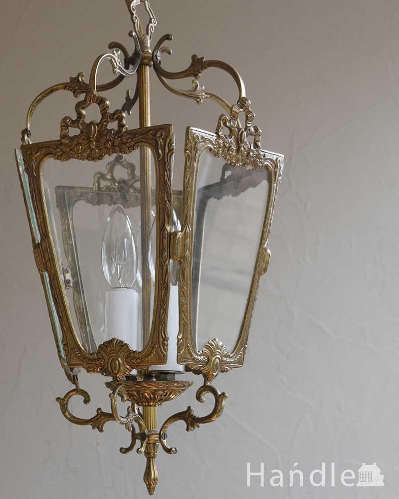 リボンの装飾がエレガント五角形アンティークペンダントランプ(E17シャンデリア球付)(k-2134-z)|照明・ライティング