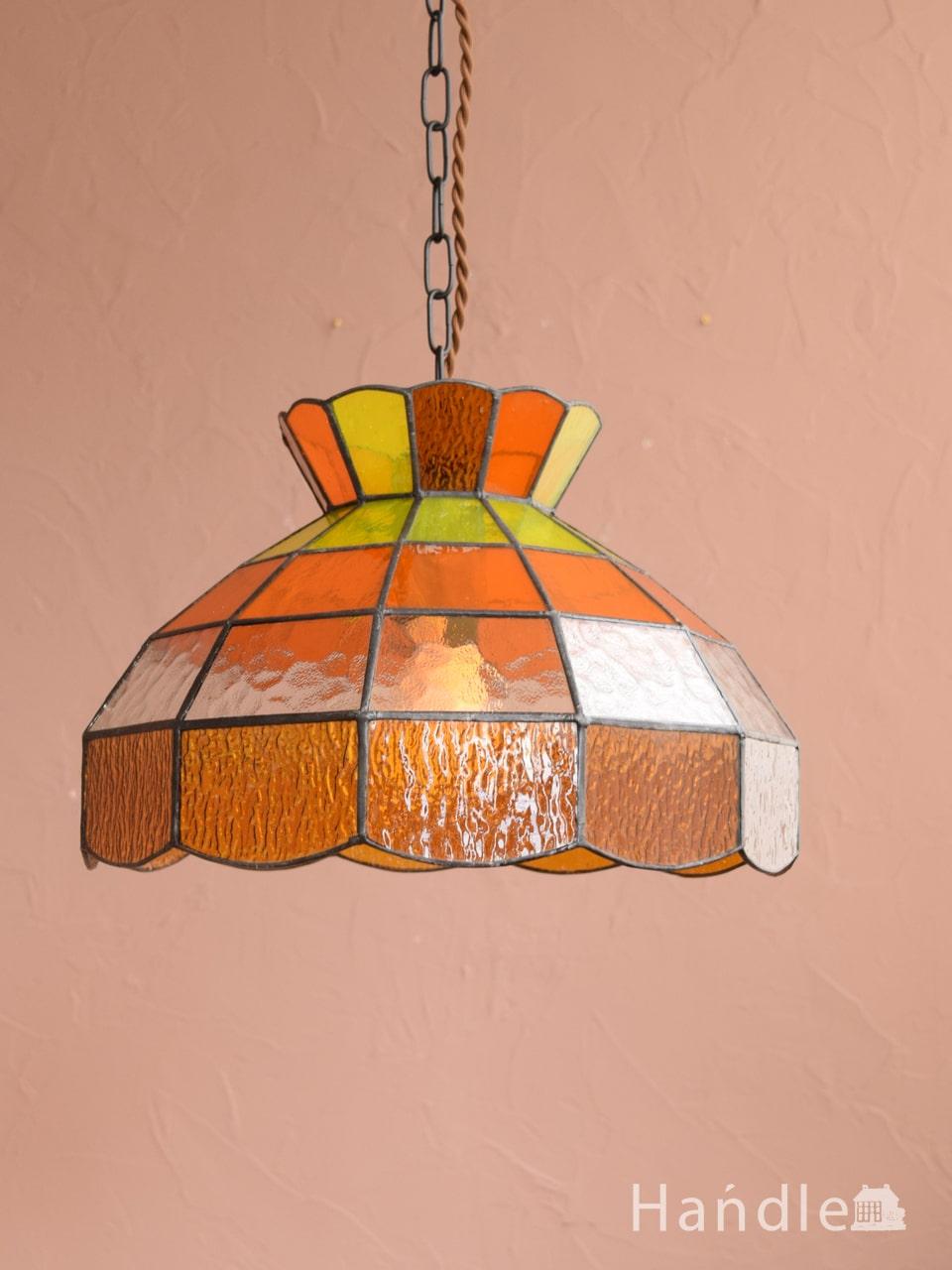 アンティーク調のおしゃれな照明、レトロな雰囲気のペンダントライト(オレンジ・E26型LED電球付き・コードセット)  (pl-315)