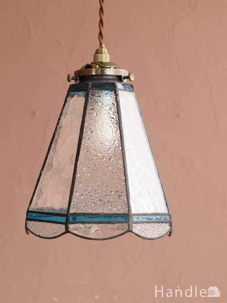 アンティーク調のおしゃれな照明、レトロな雰囲気のペンダントライト(ブルー・E17型LED電球付き・コードセット) (pl-314)
