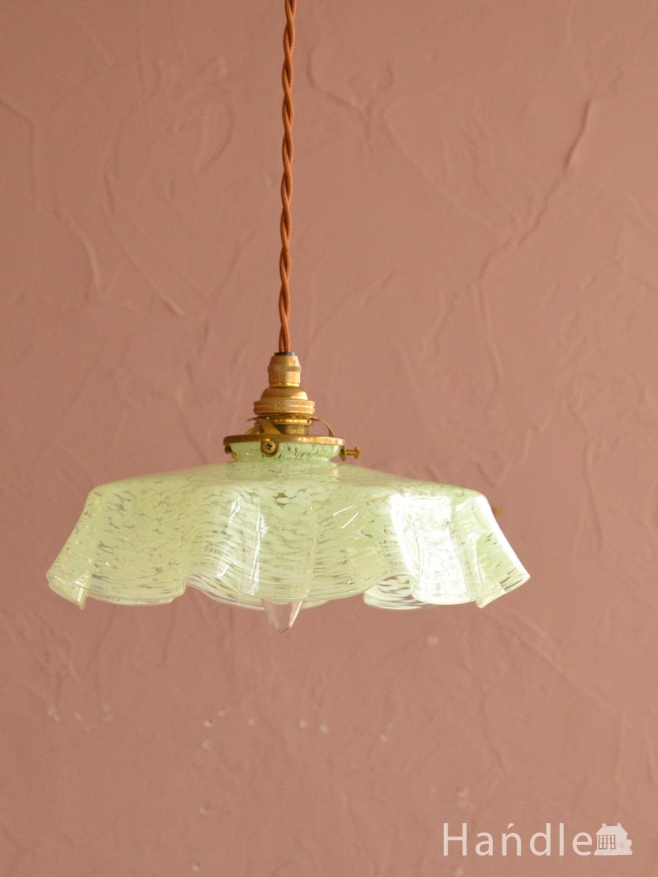 フランスのアンティーク照明、アンティークガラスのペンダントライト(コード・シャンデリア球・ギャラリーA付き) (m-4407-z)