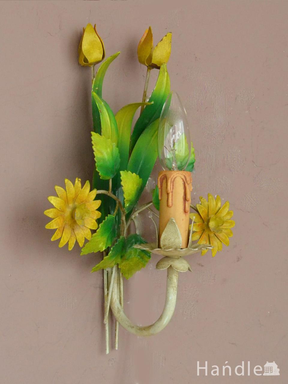 フランスのアンティーク照明、お花の壁付けシャンデリア(E17シャンデリア球付) (m-4538-z)