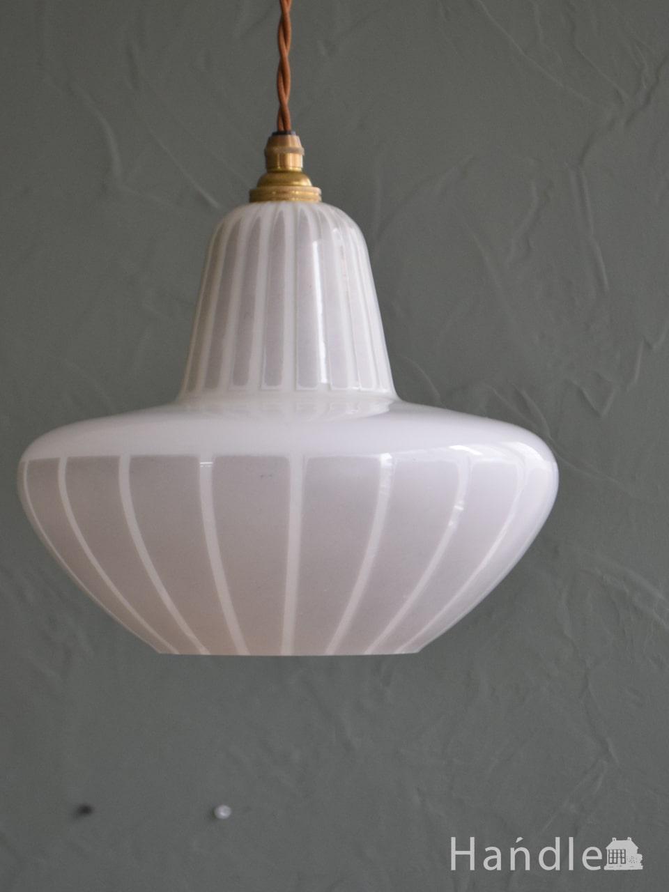 イギリスのビンテージ照明、おしゃれなガラスのペンダントライト(コード・シャンデリア電球・ギャラリーなし) (k-4640-z)