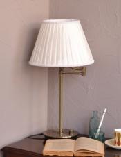 布シェードからこぼれる柔らかな灯り、テーブルランプ(調光スイッチ)(電球なし)