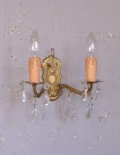 フランスのアンティーク壁付け照明、ガラスアクセサリー付のウォールシャンデリア(E17シャンデリア球付)