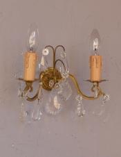 フランスアンティーク照明、ガラスパーツが輝くウォールシャンデリア(E17シャンデリア球付)