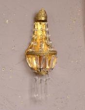 フランスアンティーク照明、ガラスアクセサリーがゆらめくウォールブラケット(壁付けシャンデリア)(E17シャンデリア球付)