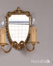 ミラー付きのフランス輸入の真鍮のウォールブラケット(2灯)(E17シャンデリア球付)