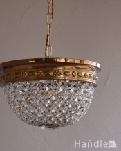 真鍮×ガラスパーツ(3灯)アンティークプチシャンデリア(E17シャンデリア球付)