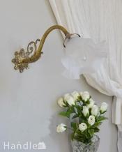植物をモチーフにした美しいフランスのアンティークウォールブラケット(E17シャンデリア球・ギャラリーA付き)