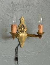 英国のアンティーク壁付け照明、2灯タイプのウォールランプ(E17シャンデリア球付)