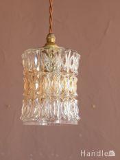 イギリスの照明、カラーガラス入りのアンティークペンダントライト(コード・シャンデリア電球・ギャラリーなし)