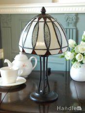 アンティーク調のおしゃれな照明、丸いドーム形のステンドグラス風のテーブルランプ(ナツメ球付き)