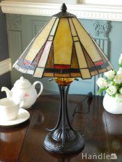 アンティーク調のおしゃれな照明、幾何学模様のステンドグラスのテーブルランプ(E26球付き)