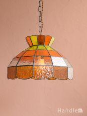 アンティーク調のおしゃれな照明、レトロな雰囲気のペンダントライト(オレンジ・E26型LED電球付き・コードセット)