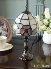 アンティーク調のおしゃれな照明、お花型のステンドグラス風のテーブルランプ(E17丸球付)