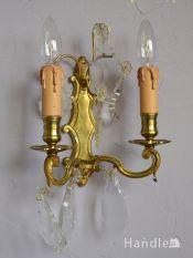 フランスのおしゃれなアンティークの照明、壁付けシャンデリア(E17シャンデリア球付)