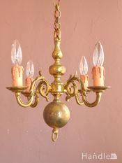 イギリスのアンティーク照明、真鍮製のおしゃれなシャンデリア(4灯)(E17シャンデリア球付)