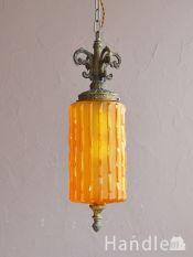 アンティーク風の照明器具、アンバー色のおしゃれなシャンデリア(E26電球付)