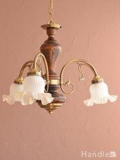 おしゃれな木製シャンデリア、イタリア製のアンティーク風照明器具(3灯)(E17電球付)