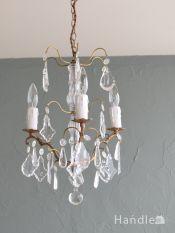 フランスのアンティーク照明、ガラスの シャンデリア(3灯)(E17シャンデリア球付)