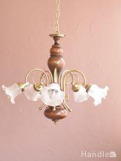 おしゃれな木製シャンデリア、イタリア製のアンティーク風照明器具(5灯)(E17電球付)