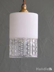 イギリスの照明、水玉模様が輝くアンティークペンダントライト(コード・シャンデリア電球・ギャラリーなし)