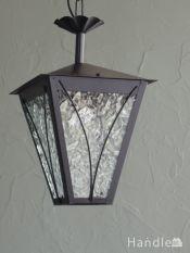 フランスで見つけたアンティーク照明、アイアン×ガラスのランタンシャンデリア(E17シャンデリア球付)