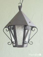 フランスのアンティーク照明、アイアン×ガラスのおしゃれなランタンシャンデリア(E17シャンデリア球付)