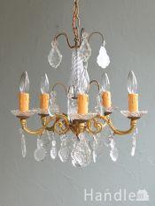 フランスから届いたアンティークのおしゃれな照明、ガラスコラム付きの豪華なシャンデリア(5灯)(E17シャンデリア球付)