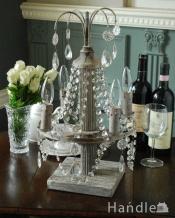お部屋を華やかに彩るビーズのスタンド、フランスのテーブルランプ(E14型電球付)(Lamp Varsailles)