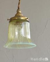 イギリスアンティーク照明、ヴァセリンランプのペンダントライト(コード・シャンデリア電球・ギャラリーD付き)