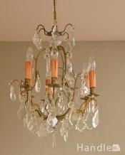 ガラスパーツがキラキラ輝くアンティーク シャンデリア(6灯)(E17シャンデリア球付)