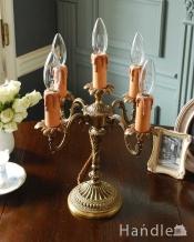 ゴールドの装飾が美しいアンティークテーブルランプ(5灯)(E17シャンデリア球付)