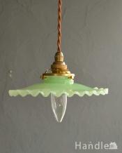 グリーン色のアンティーク風ペンダントライト(コード・シャンデリア電球・ギャラリーA付き)